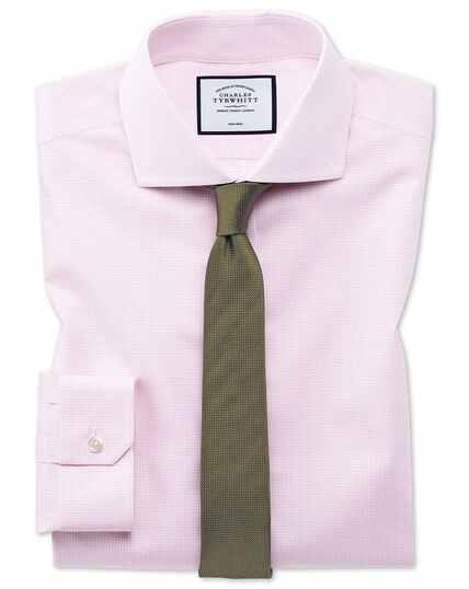 Super slim fit non-iron 4-way stretch pink check shirt