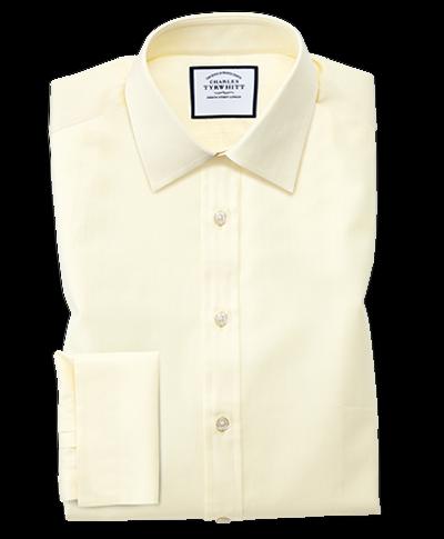 Classic Fit Hemd mit feinem Fischgrätmuster in Gelb