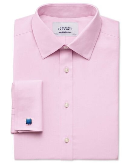 Extra slim fit non-iron twill pink shirt