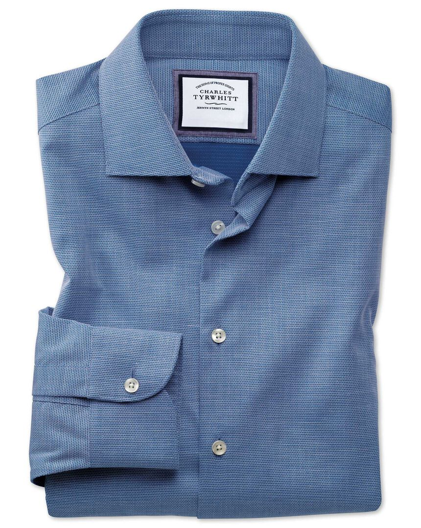 Extra slim fit semi-spread collar business casual non-iron modern textures royal blue honeycomb shirt