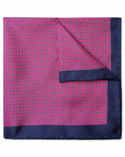 Bright pink mini paisley print pocket square