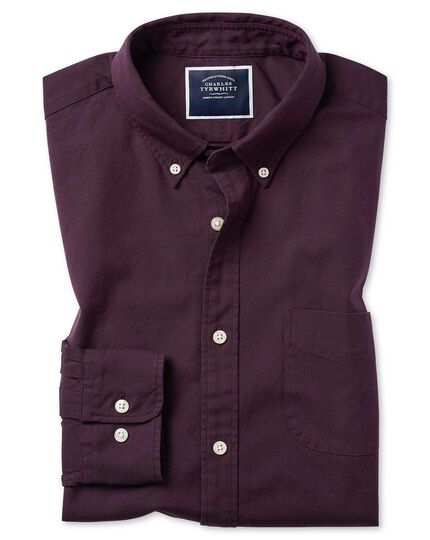 Extra slim fit berry button-down washed Oxford plain shirt