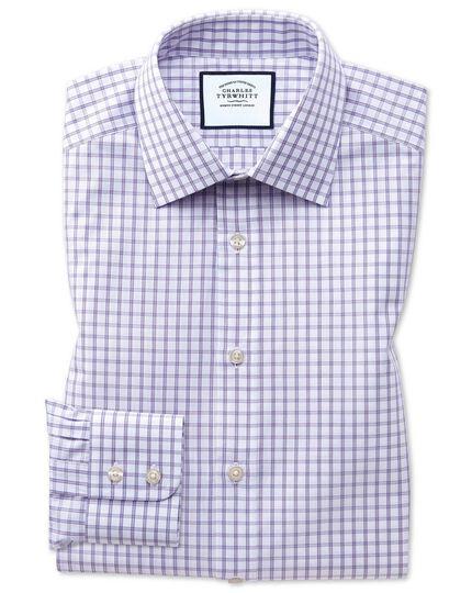 Slim fit purple windowpane check shirt