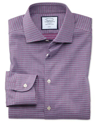 Extra slim fit business casual non-iron pink and navy square dobby shirt