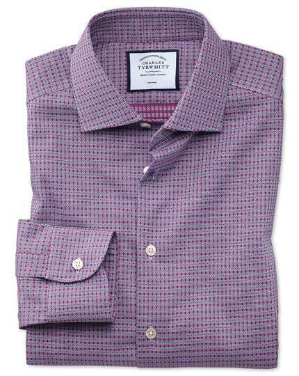 Bügelfreies Extra Slim Fit Business-Casual-Hemd mit Dobby-Struktur und rechteckigem Muster in Rosa und Marineblau