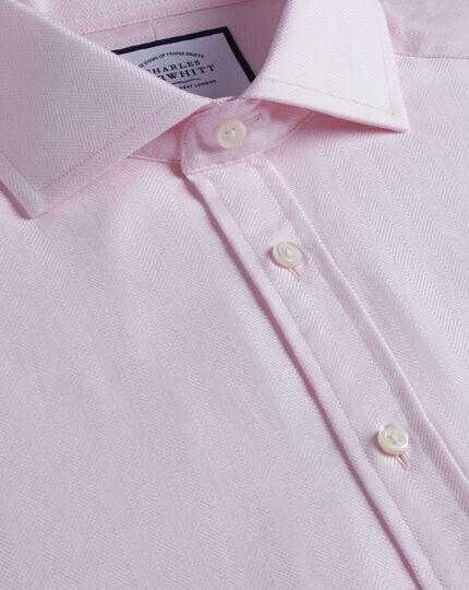 Baumwoll-Stretch Hemd mit TENCEL und Haifischkragen - Rosa