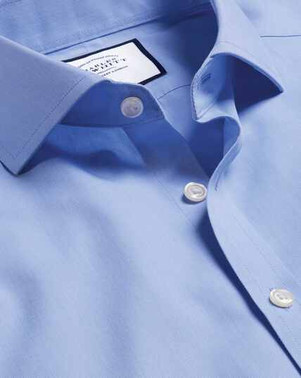 Bügelfreies Tyrwhitt Cool Popeline-Hemd mit Haifischkragen - Mittelblau