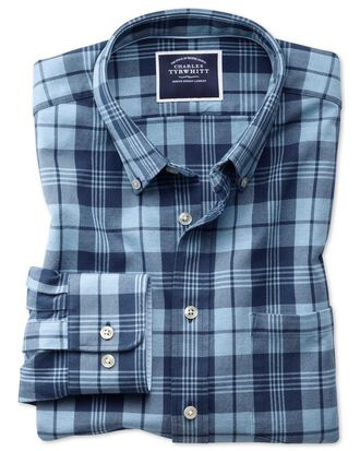 Slim fit button-down washed Oxford navy and blue check shirt