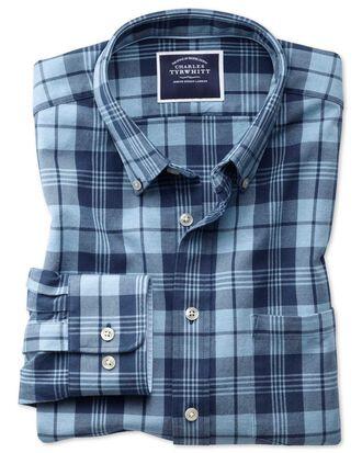 Chemise bleu marine et bleue en oxford délavé slim fit à carreaux et col boutonné