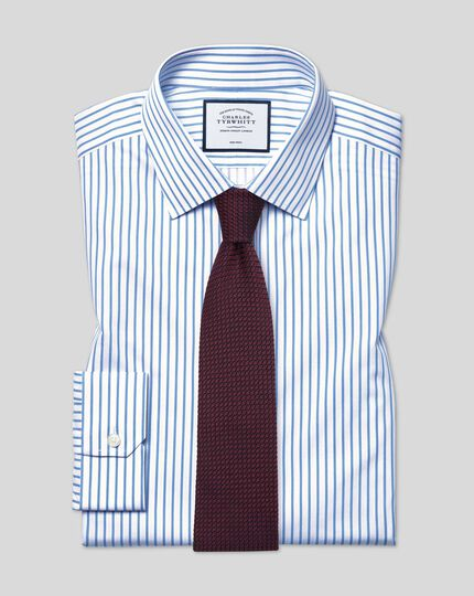 Classic Collar Non-Iron Twill Stripe Shirt- White & Sky