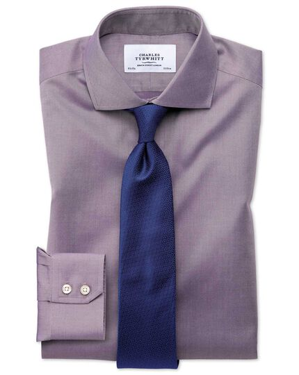 Slim fit cutaway non-iron twill dark purple shirt