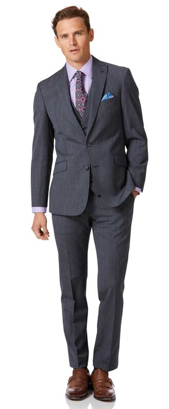 Airforce blue check slim fit twist business suit