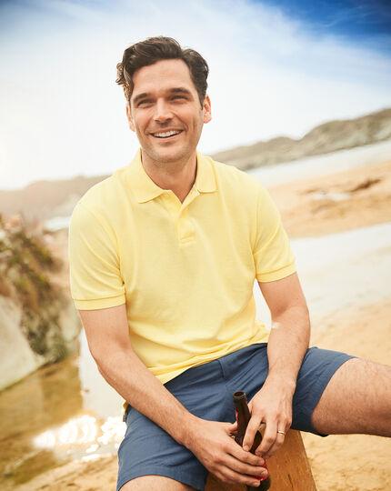 Light yellow melange pique polo