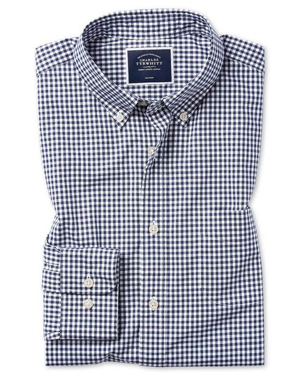 Slim fit soft washed non-iron stretch poplin gingham navy shirt