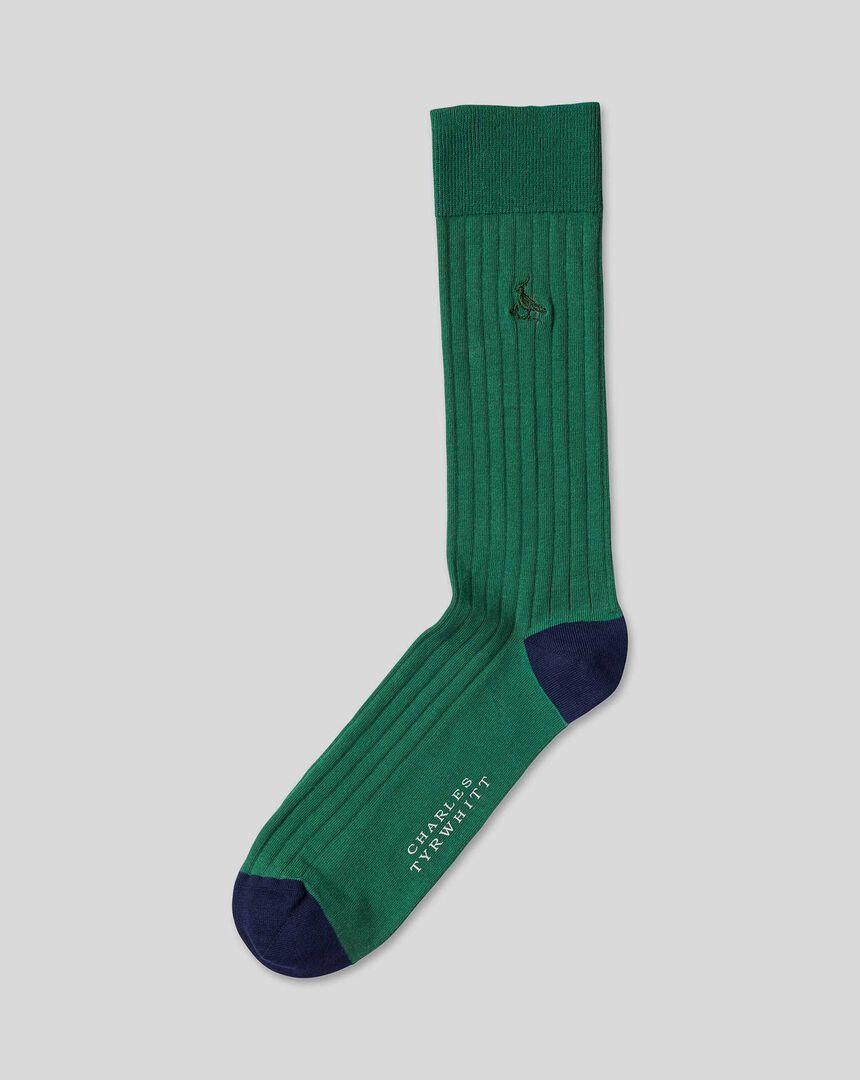 Cotton Rib Socks - Green