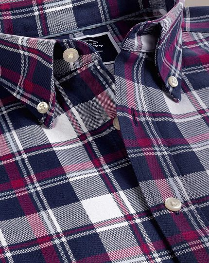 Classic fit white and pink check washed Oxford shirt