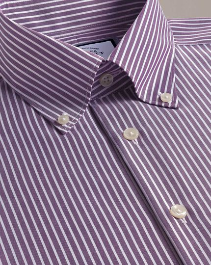 Slim fit business casual non-iron button-down purple and white stripe shirt