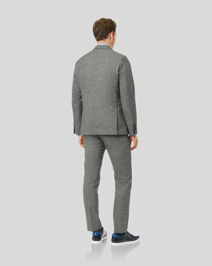 Wool Cotton Linen Drawstring Suit - Grey