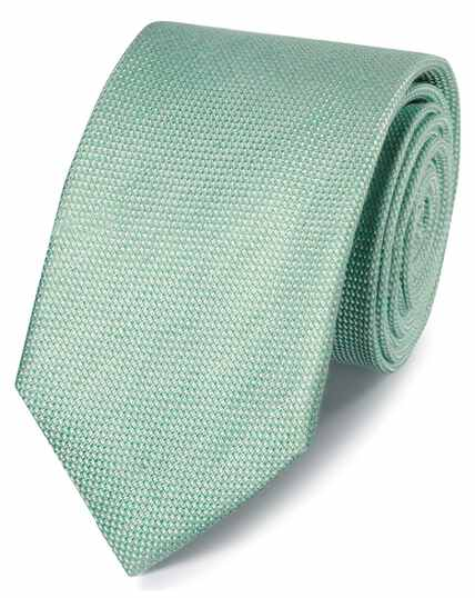 Light green linen silk plain classic tie