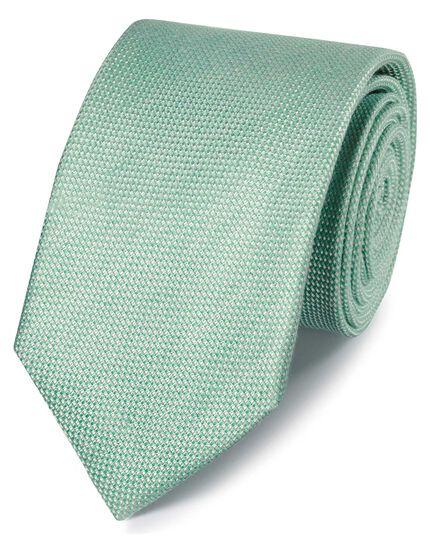 Light green linen silk plain classic tie