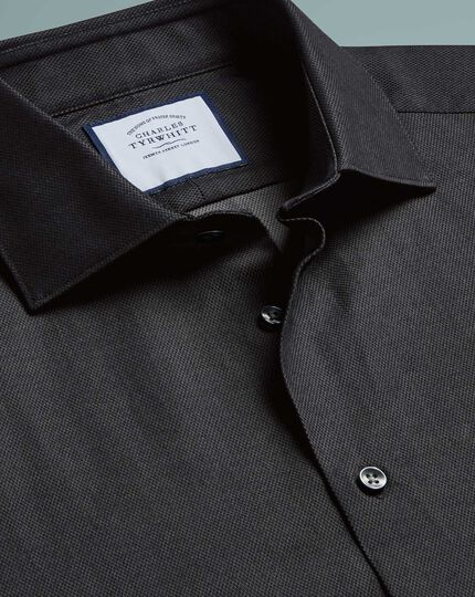 Classic fit micro diamond charcoal shirt