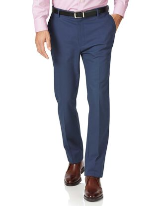 Blue classic fit stretch non-iron trousers