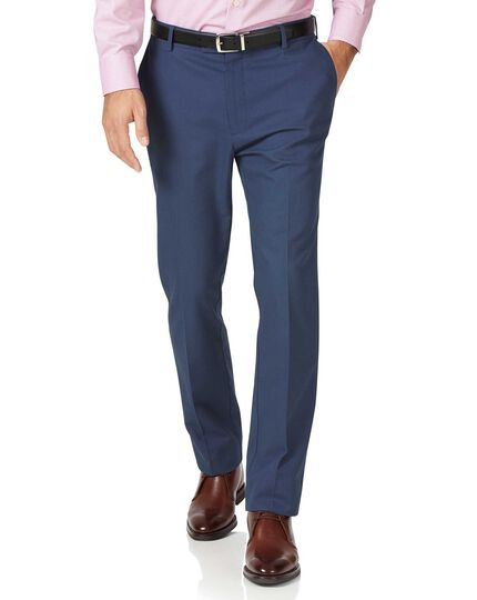 Blue classic fit stretch non-iron pants