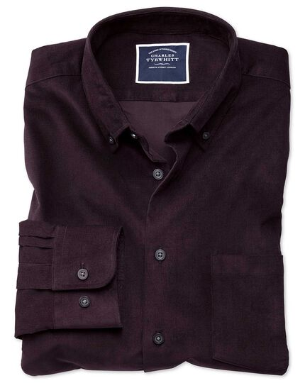 Slim fit plain dark purple fine corduroy shirt