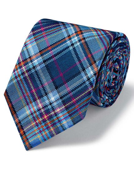 Blue silk multi check English luxury tie