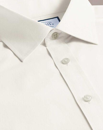 Slim fit cream non-iron poplin shirt