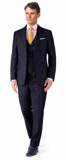 Ink blue classic fit birdseye travel suit
