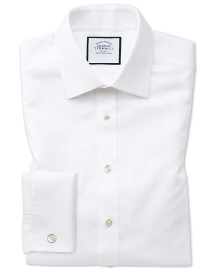 Classic fit non-iron white arrow weave shirt