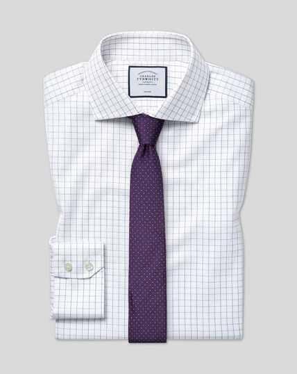 Chemise en coton stretch à carreaux et col cutaway sans repassage - Bleu