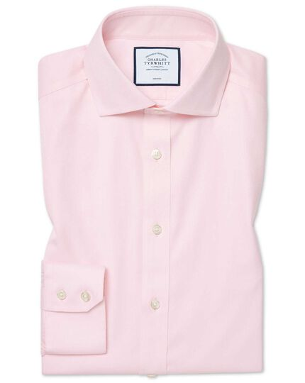 Chemise à col cutaway en coton stretch rose extra slim fit sans repassage
