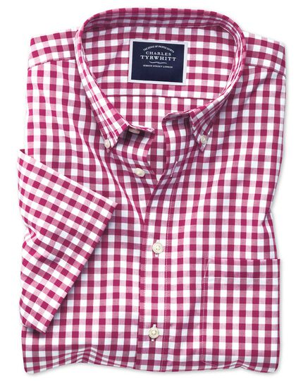 Slim fit button-down non-iron poplin short sleeve red gingham shirt