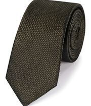 Olive silk textured slim tie