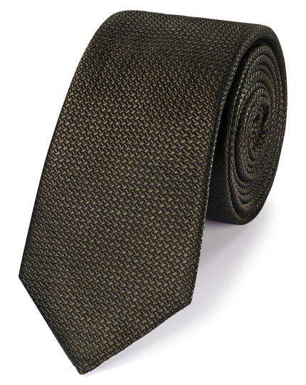 Cravate slim semi-unie olive en tissu texturé