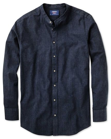 Slim fit collarless navy shirt
