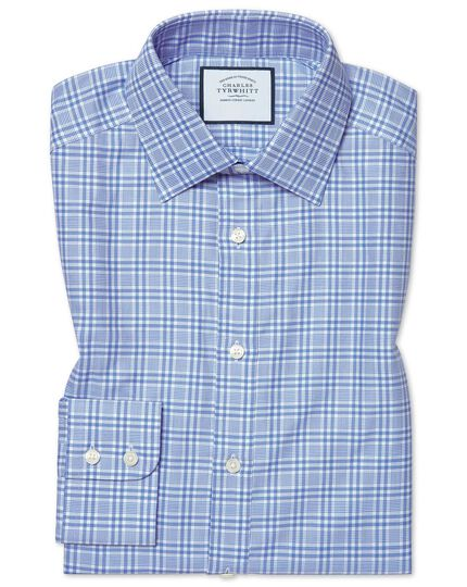 Slim fit brushed-back basketweave blue check shirt