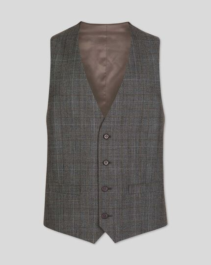 Prince Of Wales Check Business Suit Vest - Grey