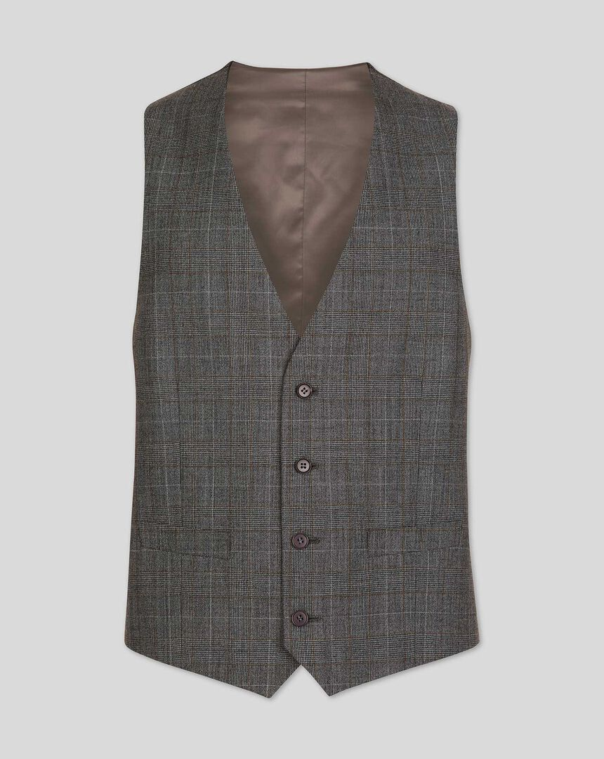 Prince Of Wales Check Business Suit Waistcoat - Grey