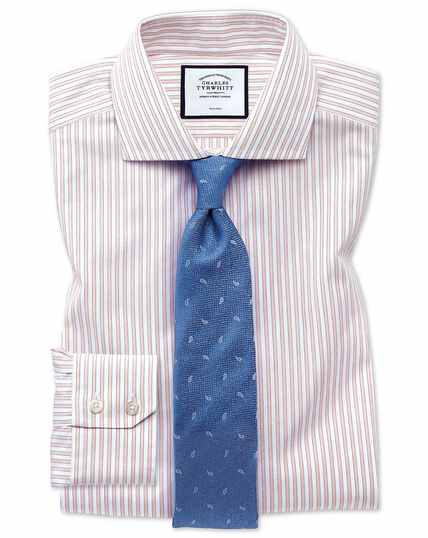 Extra slim fit non-iron shadow stripe pink shirt