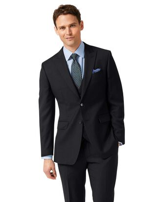 Black slim fit twill peak lapel business suit jacket