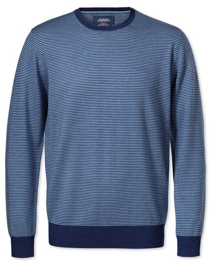 Mid blue merino crew neck jumper