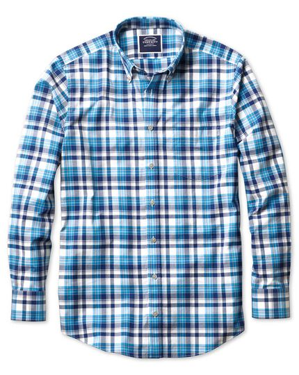 Slim fit poplin navy multi  shirt