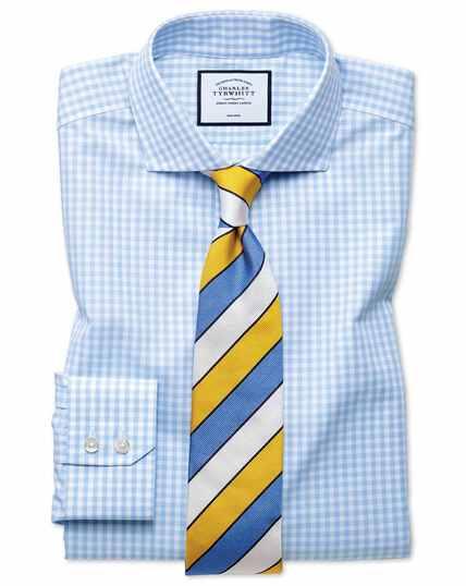 Classic fit non-iron sky blue check Tyrwhitt Cool shirt