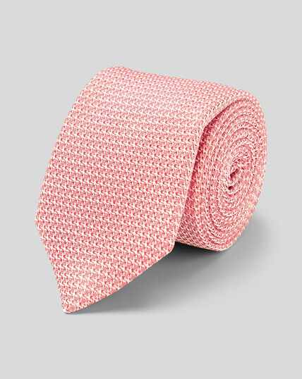 Silk Grenadine Italian Luxury Tie - Coral