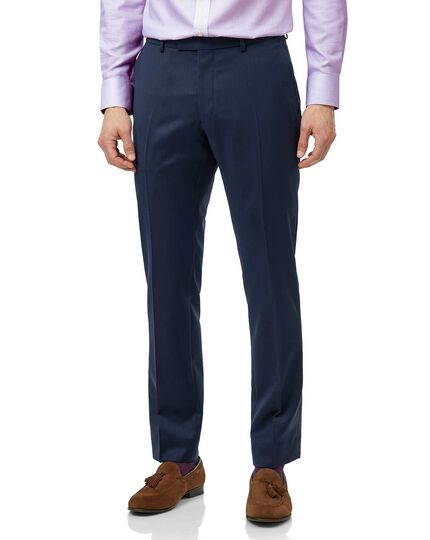 Mid blue slim fit Italian natural stretch suit trouser