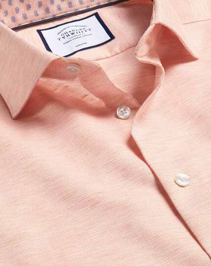 Business Casual Collar Cotton Linen Shirt - Orange