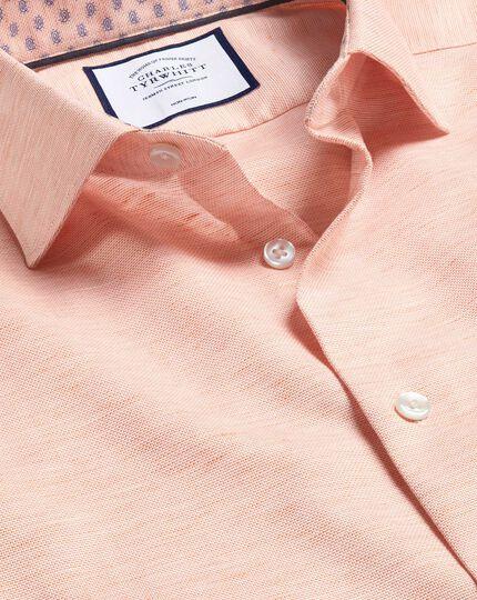 Hemd aus Baumwoll und Leinen mit Business-Casual-Kragen - Orange